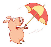Illustration of  Cute Pig Cartoon Character