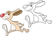 Illustration of Cute Rabbit Cartoon Character Coloring Book