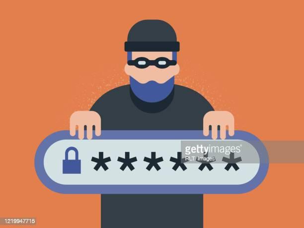 illustration of cyber criminal lurking behind password login bar - identity theft stock illustrations