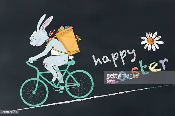 illustration of cycling easter bunny on chalk board with text