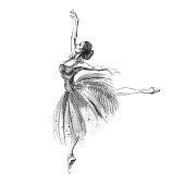 Illustration of dancing ballerina. Russian ballet.