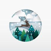 Illustration of deer. Winter landscape.