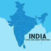 Illustration of detailed map of India, Asia with all states and country boundary.