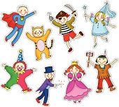 Illustration of different children's party costumes