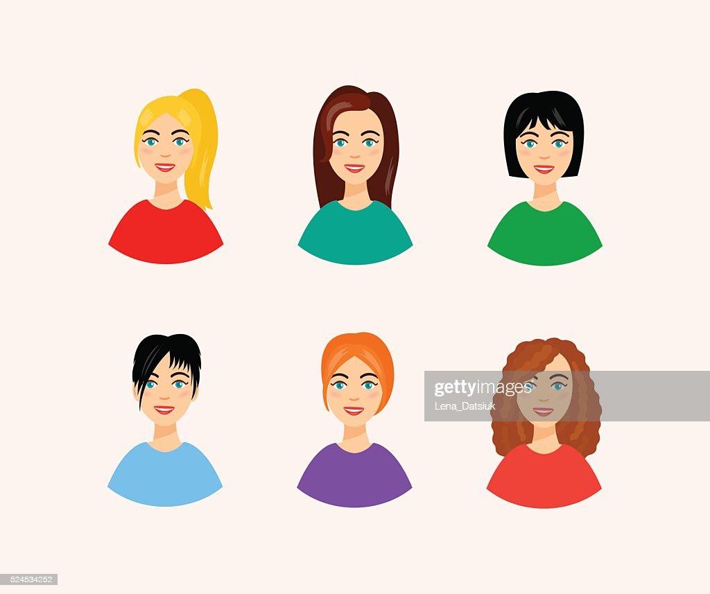 Illustration De Differentes Coiffures Femme Souriante Dans Le Style De Dessin Anime Visages Illustration Getty Images