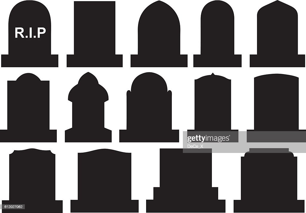Illustration of different Halloween gravestones