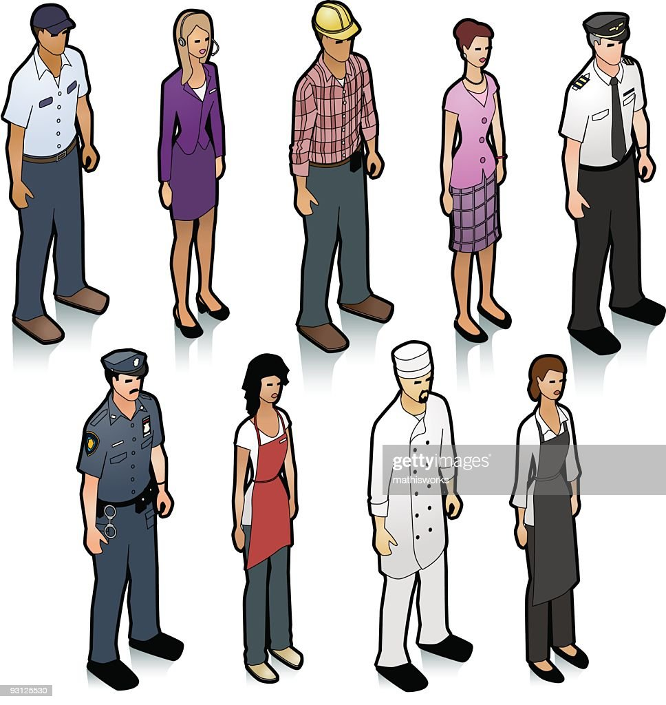 Illustration of different people in different job positions