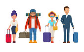 Illustration of different travelers people with luggage