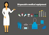 illustration of disposable medical equipment and a nurse