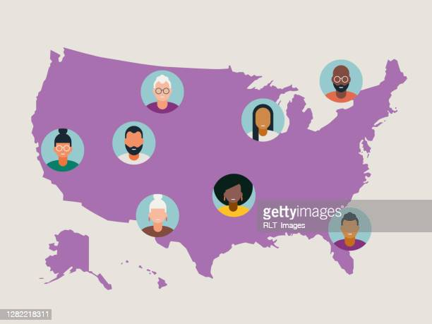 illustration verschiedener avatare auf der karte der vereinigten staaten - usa stock-grafiken, -clipart, -cartoons und -symbole