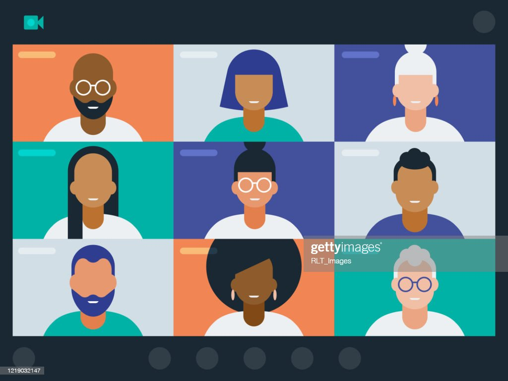 Illustration of diverse group of friends or colleagues in a video conference : stock illustration