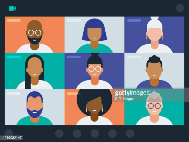 illustration of diverse group of friends or colleagues in a video conference - people stock illustrations