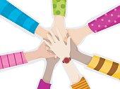 Illustration of diverse hands coming together
