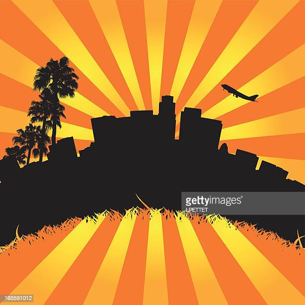 Illustration of Downtown Los Angeles California.