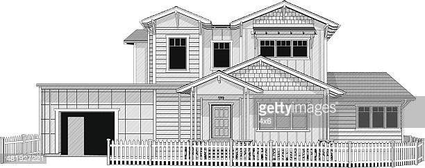 Illustration of dream home with white picket fence