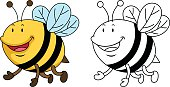 Illustration of educational coloring book-bee
