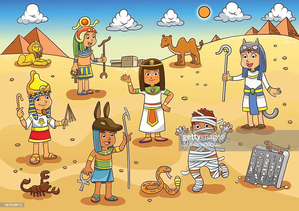 Illustration of egypt child cartoon.