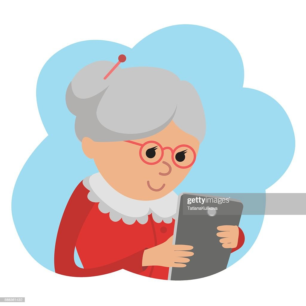 Illustration of elderly woman use tablet
