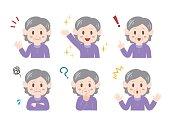 Illustration of elderly woman