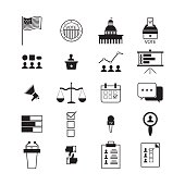 illustration of election and voting line icons set, politics icon