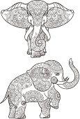 Illustration of elephant with mandalas vector decoration