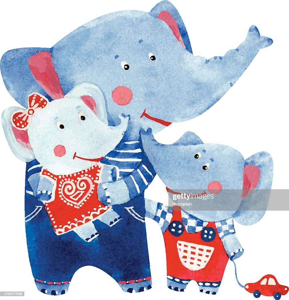 illustration of elephants family