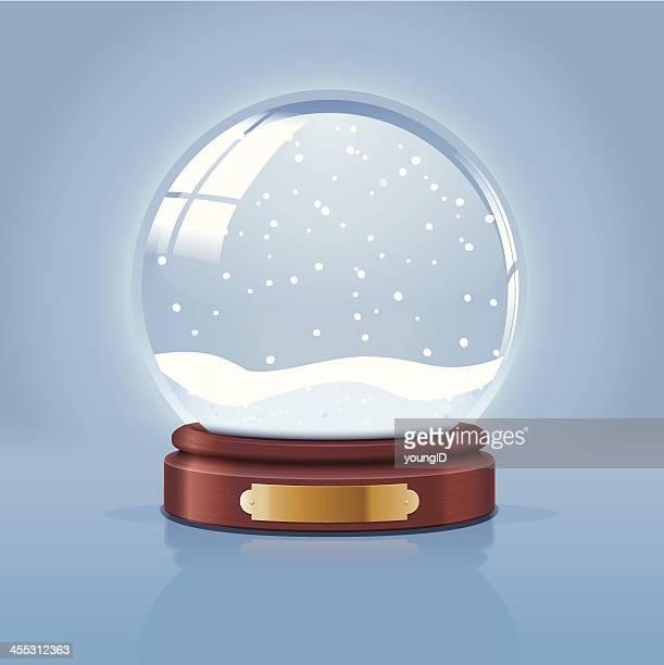 Illustration of empty snow globe on blue background