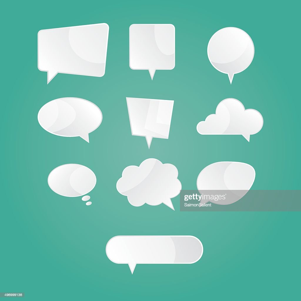 illustration of empty white speech dialog bubbles on green background