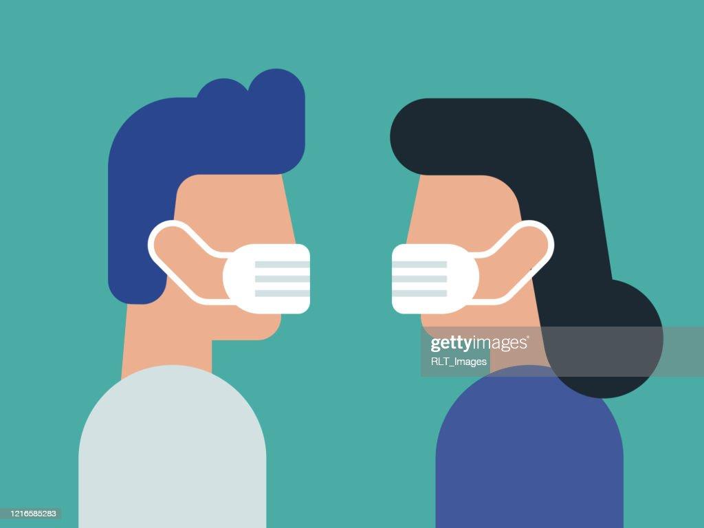 フェイスマスクを着用した若いカップルと向き合うイラスト : ストックイラストレーション