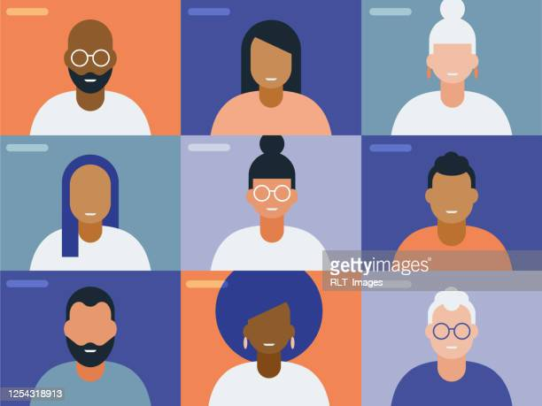illustration of faces on video conference call screen - diversity stock illustrations