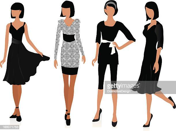 illustration of fashion models posing next to each other - next stock illustrations