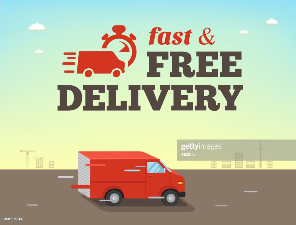Illustration of  fast shipping concept. Truck van of delivery