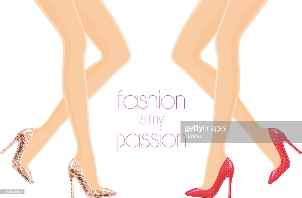 Illustration of female legs in high-heeled shoes