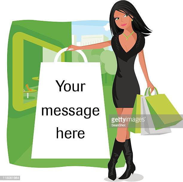 Illustration of female with white shopping bag for message