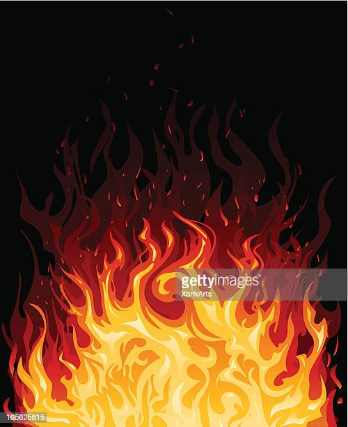 illustration of fire in various shades of orange - hell stock illustrations