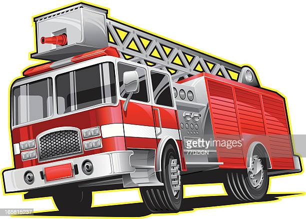 illustration of firetruck lines in yellow - fire engine stock illustrations, clip art, cartoons, & icons