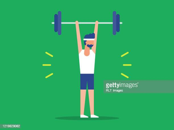 illustration of fit man lifting barbell over head - gym stock illustrations