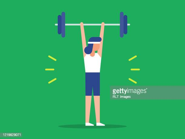 illustration of fit woman lifting barbell over head - weight training stock illustrations