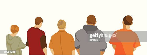 Illustration of five male youths seen from behind