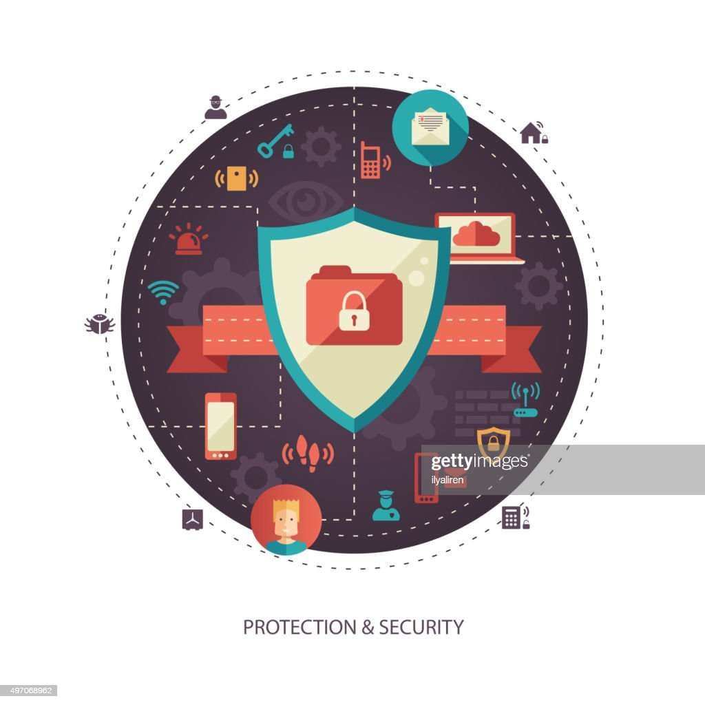 Illustration of flat design business illustration with security composition