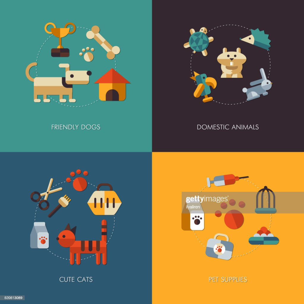Illustration of flat design pets compositions