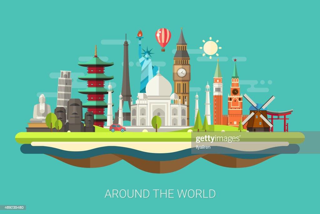 Illustration  of flat design postcard with famous world landmarks icons