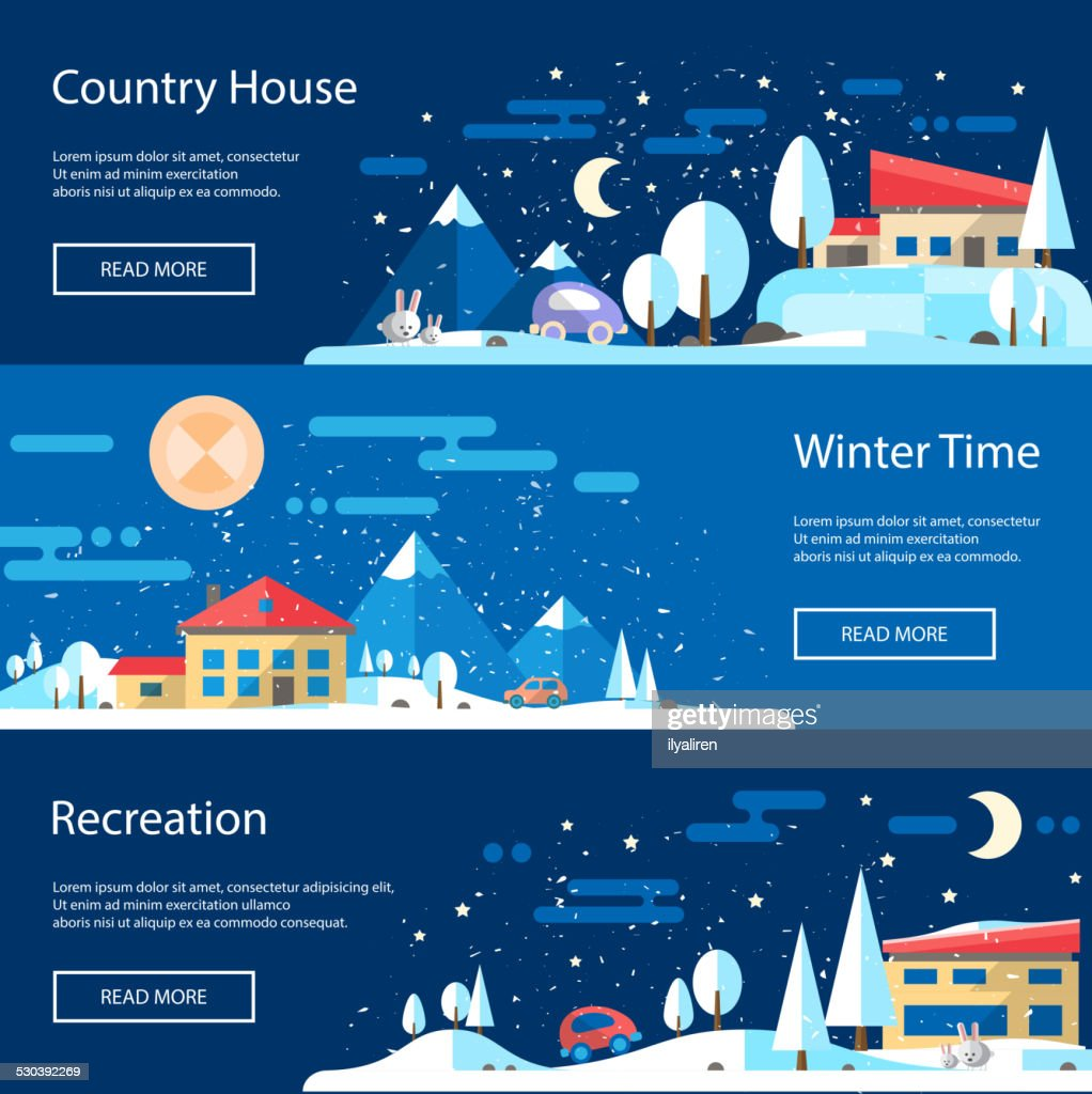 Illustration of flat design urban winter landscape compositions