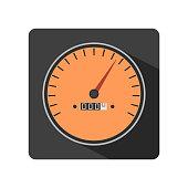 Illustration of flat speedometer gauges icon