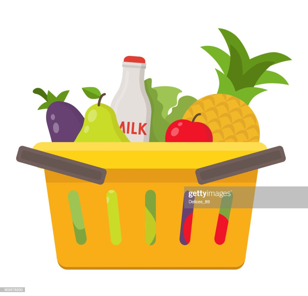 illustration of food and drink products into basket