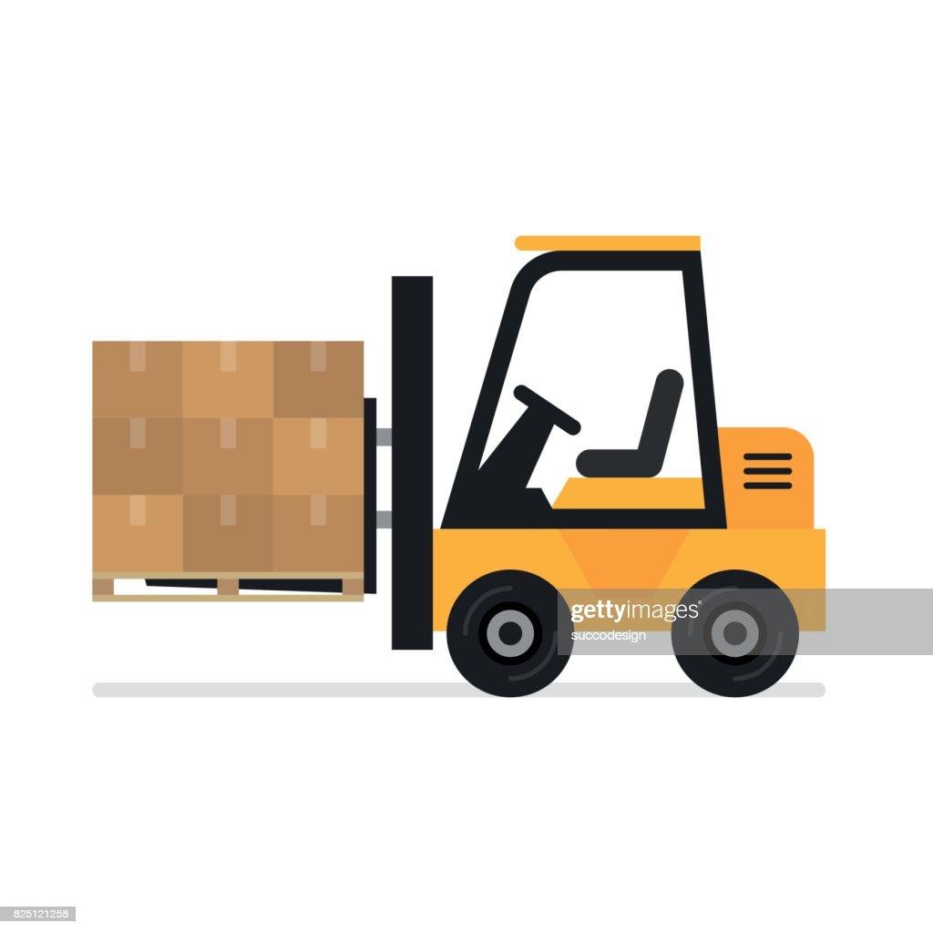 Illustration of forklift truck is raising a pallet