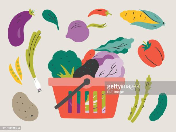 illustration of fresh vegetables in shopping basket — hand-drawn vector elements - vegetable stock illustrations