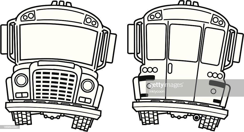 Ilration Of Front And Back School Bus Black White Vector