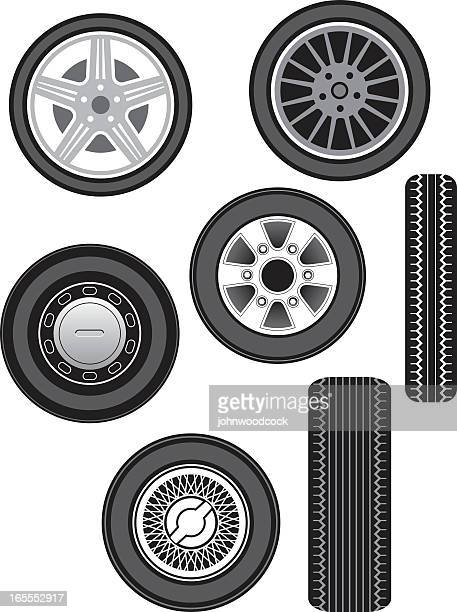illustration of front and side views of car wheels - lutin stock illustrations