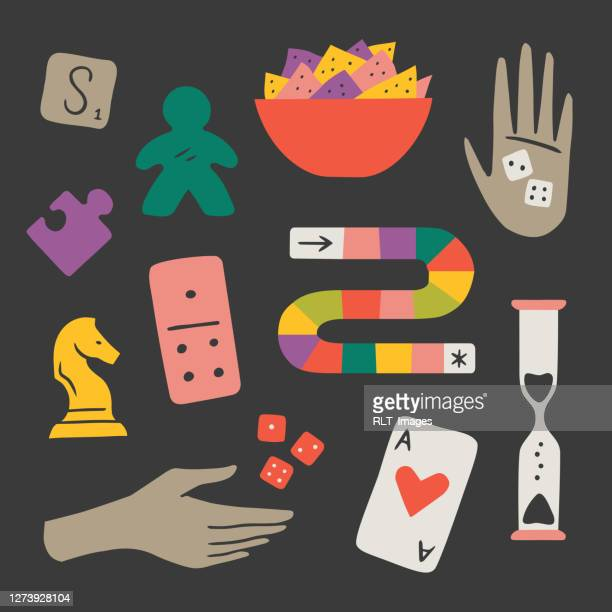 illustration of fun game night components — hand-drawn vector elements - game night leisure activity stock illustrations
